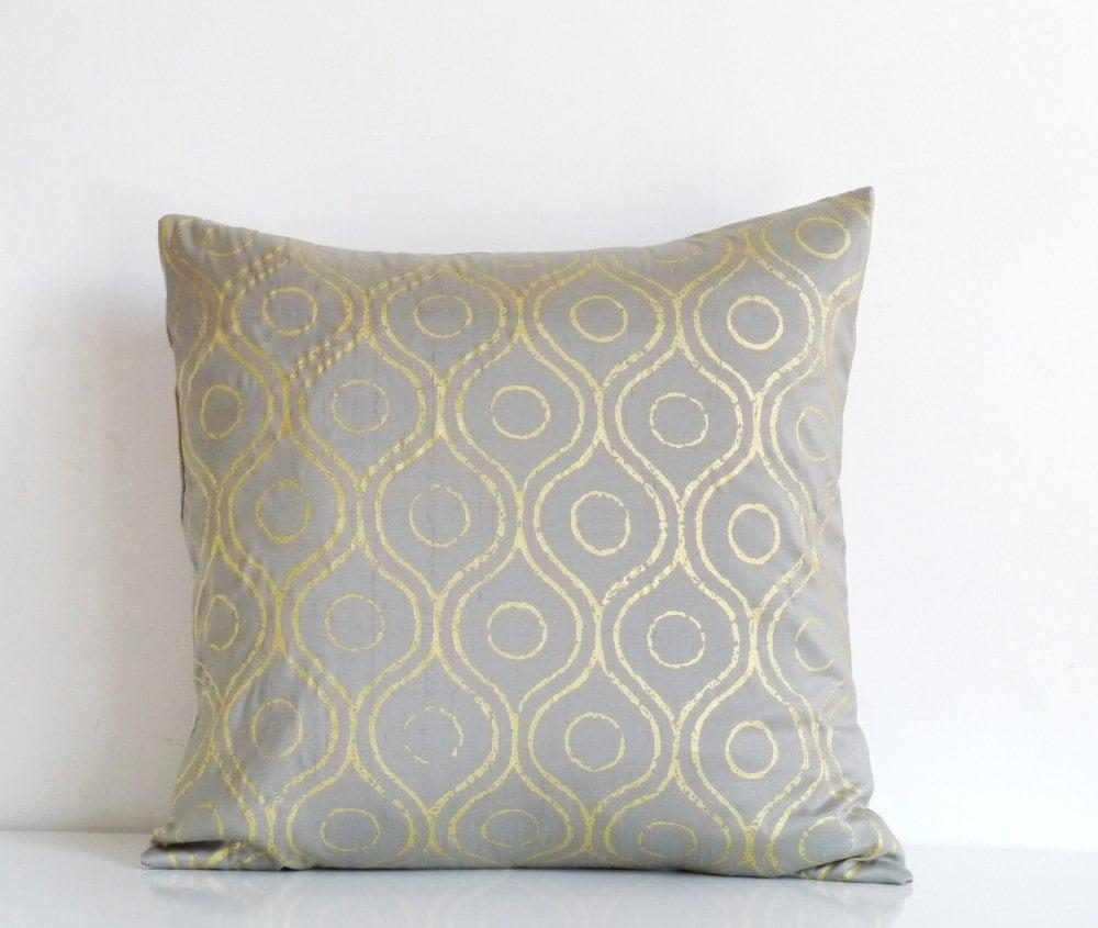 Silver gray silk throw pillow gold metallic print on gray