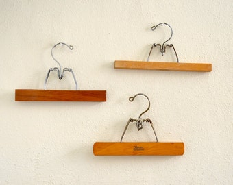 Set of 3 Vintage Wooden Pants Hangers
