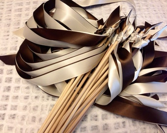 Tie the Knot - Satin Wedding Ribbon Wands - Custom Colors - Pack of 50 - Shown in Brown and Ivory