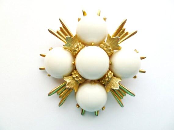 Vintage Maltese Cross White Cabochon Brooch