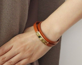 18k Gold Plated Closure Double Wrap Leather Bracelet(Calf)