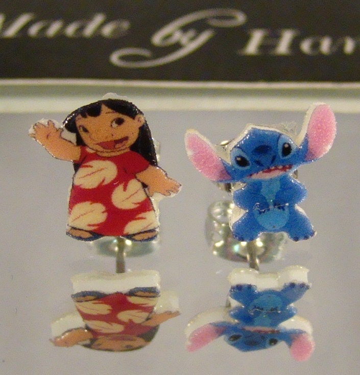 lilo and stitch stud earrings surgical steel