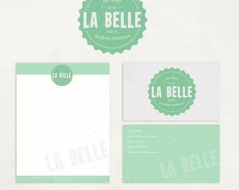 SALE 30 DOLLARS OFF!! Custom Premade Logo, Business Card, Letterhead Design - ooak - La Belle