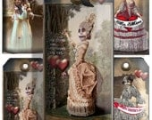 Valentine's card   Tags  gothic Zombie printable  download collage sheet craft supply