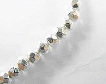 20 of Karen Hill Tribe Silver Faceted Beads 3.8x2.5 mm. :ka3394