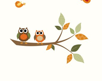 Children Wall Decal Sticker Vinyl Branch-Nursery Decals-Owl Bird Patterns
