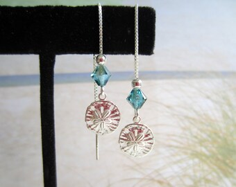 Sand Dollars-Ear Threads-Sterling Silver
