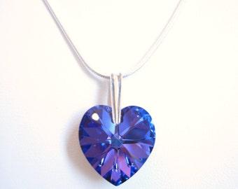 Elegant Heart - Heliotrope / Violet Swarovski Heart Crystal Pendant in Sterling Silver, Perfect for a Wedding, Formal or Prom