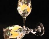Lemon and White Flowered Wine Glasses