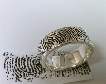 Finger Print Ring with Inside Letter Engraving