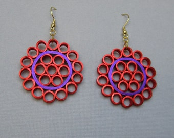 Quilling Earrings, Red and Purple Metallic Edged, Red Hat Society