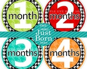Baby Monthly Stickers PLUS Just Born - Houndstooth (Neutral Colors.green.red.black.turquoise.orange) Create great memories