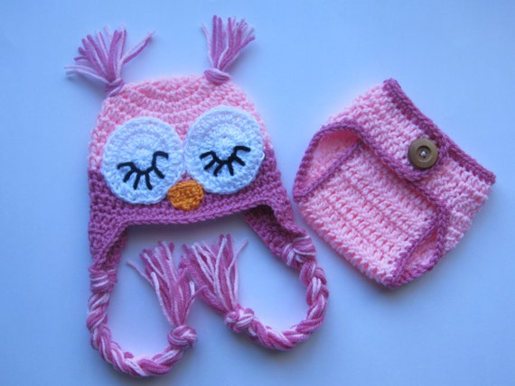 Free Crochet Owl Hat And Diaper Cover Pattern : Items similar to Crochet Sleepy Owl Baby Hat And Diaper ...