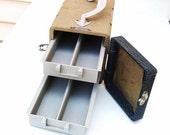 Mid Century Storage, Slide Case, Zephyr, Travel Organizer, Vintage Photography, Carrying Case / Blue