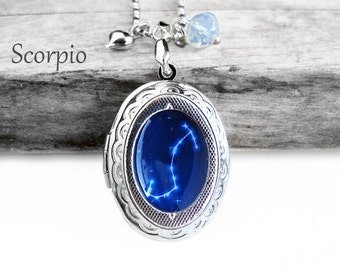 "Get 15% OFF - Handmade Resin ""Scorpio"" Constellation Sign Silver Oval Locket Pendant Necklace - Valentine's Day SALE 2017"