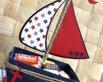 Boat - Nautical Favor Box - Treat Box - Set Of 10