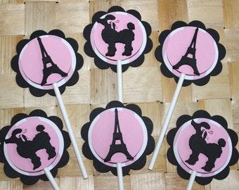 Paris Theme Cupcake Toppers (12)