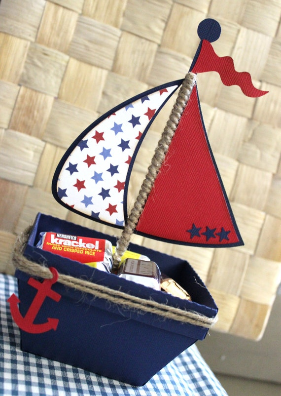 Boat Nautical Favor Box Treat Box Set Of 10