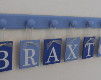 Personalized Baby Boy Nursery Decor Hanging Wall Letters Name Sign includes Peg Board Blue Decor