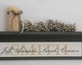 "Custom Wedding Gift Personalize Family Name Shelves, Home Decor / Housewarming Gift, - 24"" Chocolate Brown Shelf / Sign"