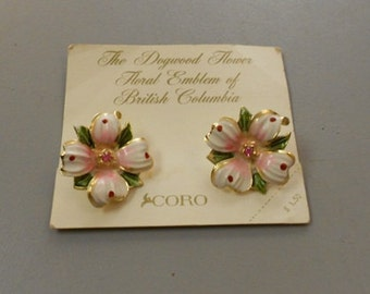 Vintage Coro Dogwood Flower Clip On Earrings 1950s NOS