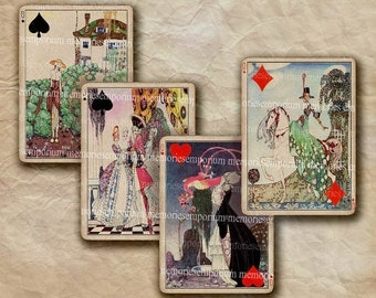 Art Deco Playing Cards Decoupage ATC ACEO Card Games Twenties 20s 1920s Printable Digital Collage Sheet InstantDownload 277