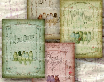 Shabby Chic French Bird Song Sheet Music Vintage Notes Antique Decoupage Backgrounds ACEO ATC Size Digital Collage Sheet Download 200