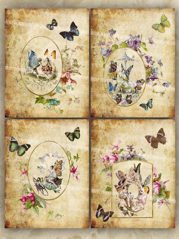 Butterfly Fairies Shabby Chic Decoupage Antique Flower