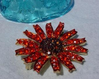 Orange Vintage Brooch Rhinestones Costume Jewelry Wedding Bouquet