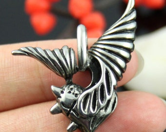 Winged Heart Stainless Steel Pendant-02