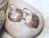 Etched Brass Heart Earrings, Domed Metal