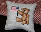 Hand Cross Stitched Little Pillow - Bowl Filler - Tuck - Teddy with Flag - OFG
