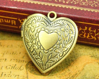 5 pcs Heart Shaped Photo Lockets Antique Bronze Nickle Free 23mm CH1343