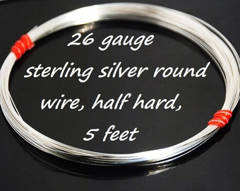 Stertling silver round wire, half hard, 26 gauge, general purpose wire, 5 feet
