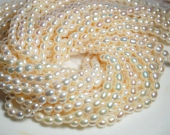 15 inch strand 6.5-7mm rice shape freshwater pearls, rice pearls, one strand, grade A+, natural white color