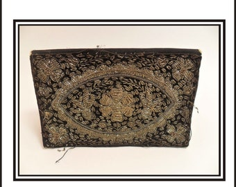 Black Velved Wire Embroidered Clutch Two