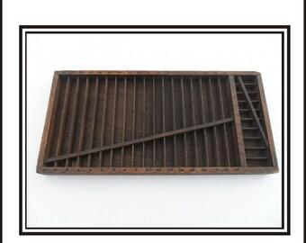 Divided Wooden LetterpressTray