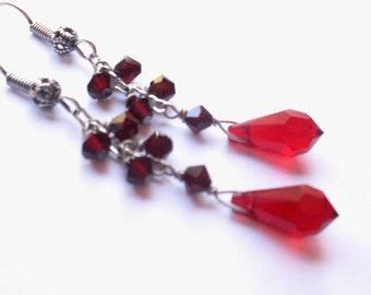 Red crystal earrings, blood red bead dangle earrings, Austrian crystal, antiqued silver chain earrings, red crystal jewelry