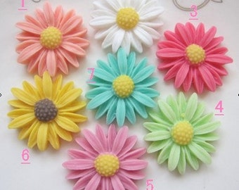 Beautiful Resin Flower Cabochons (26mm), 14pcs mixed