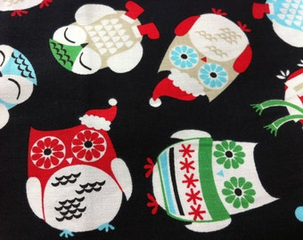 Happy OWLS New Brother Sister Design Holiday Owls Winter Print 100% Cotton Fabric One Yard Brother Sister Design