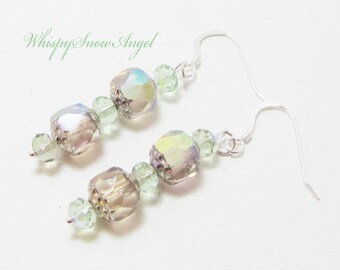 Czech Cathedral Glass Bead Earrings Blush and Light Green Faceted Rondelles All Parts Sterling Silver
