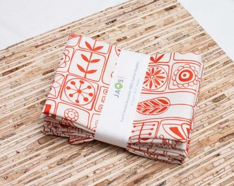 Large Cloth Napkins - Set of 4 - (N671) - Red Orange Scandinavian Modern Reusable Fabric Napkins