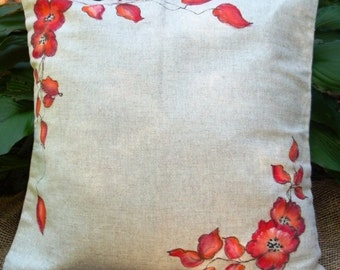 17'' handpained pillow cover ( wild flowers, tulips, green leaves, red flowers)