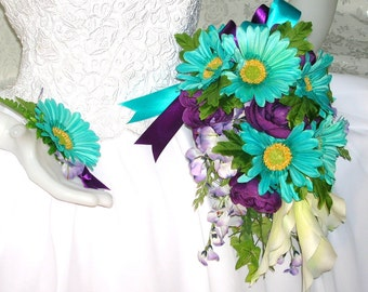 50% COUPON CODE, Destination Wedding, Bridal Bouquet With Turquoise Gerberas and Eggplant Ranunculus