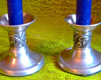 Take 20% Off Vintage Selandia Etched Pewter Taper Holders Made in Norway
