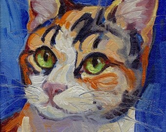 Green-eyed Calico cat small oil painting on canvas panel. Commissions available