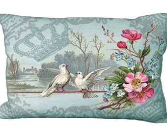 Lumbar Doves & Pink Flowers Aqua Romantic Oblong Pillow Cover 24x16 or 20x13 or 18x12