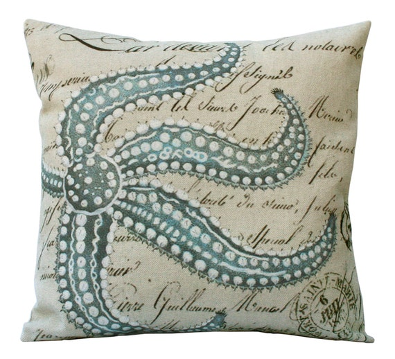 Blue Starfish on French Document  in Choice of 14x14 16x16 18x18 20x20 22x22 24x24 26x26 inch Pillow Cover