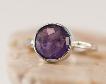 Purple Amethyst Ring Silver - February Birthstone Ring - Gemstone Ring - Stacking Ring - Sterling Silver Ring - Round Ring - Gem Ring