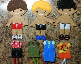 In The Hoop Felt Dress Up Boy BFF Doll Embroidery Machien Design Set